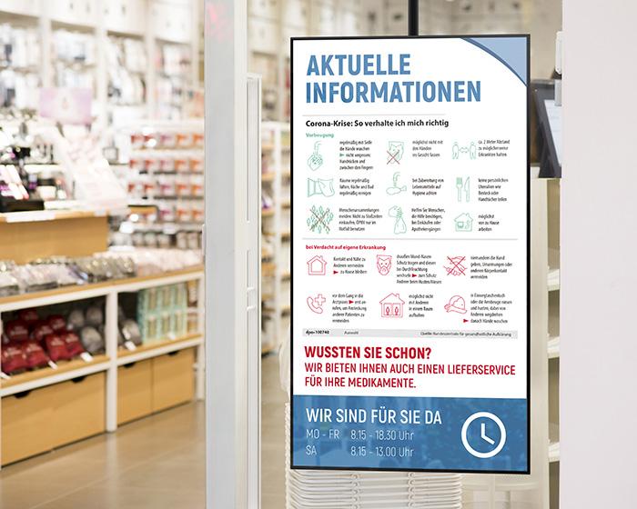 Digital Signage im Schaufenster einer Apotheke