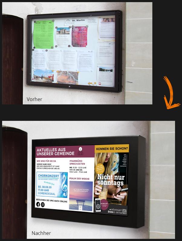 Ein Vorher Nachher Vergleich eines Schaukasten vs. Digital Signage
