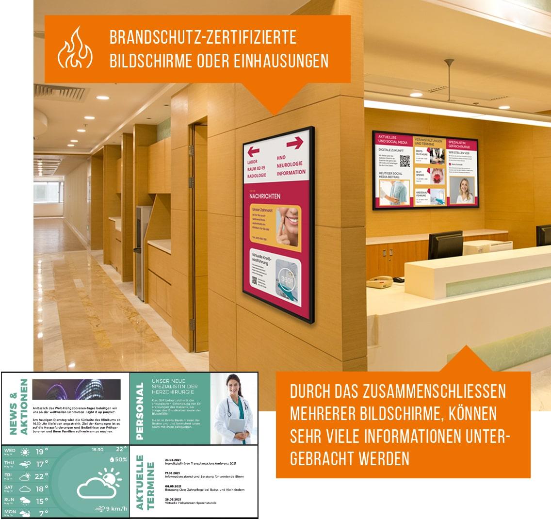 Digital Signage in einem Krankenhaus