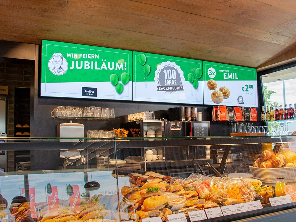 Digital Signage Menüboard Bäckerei