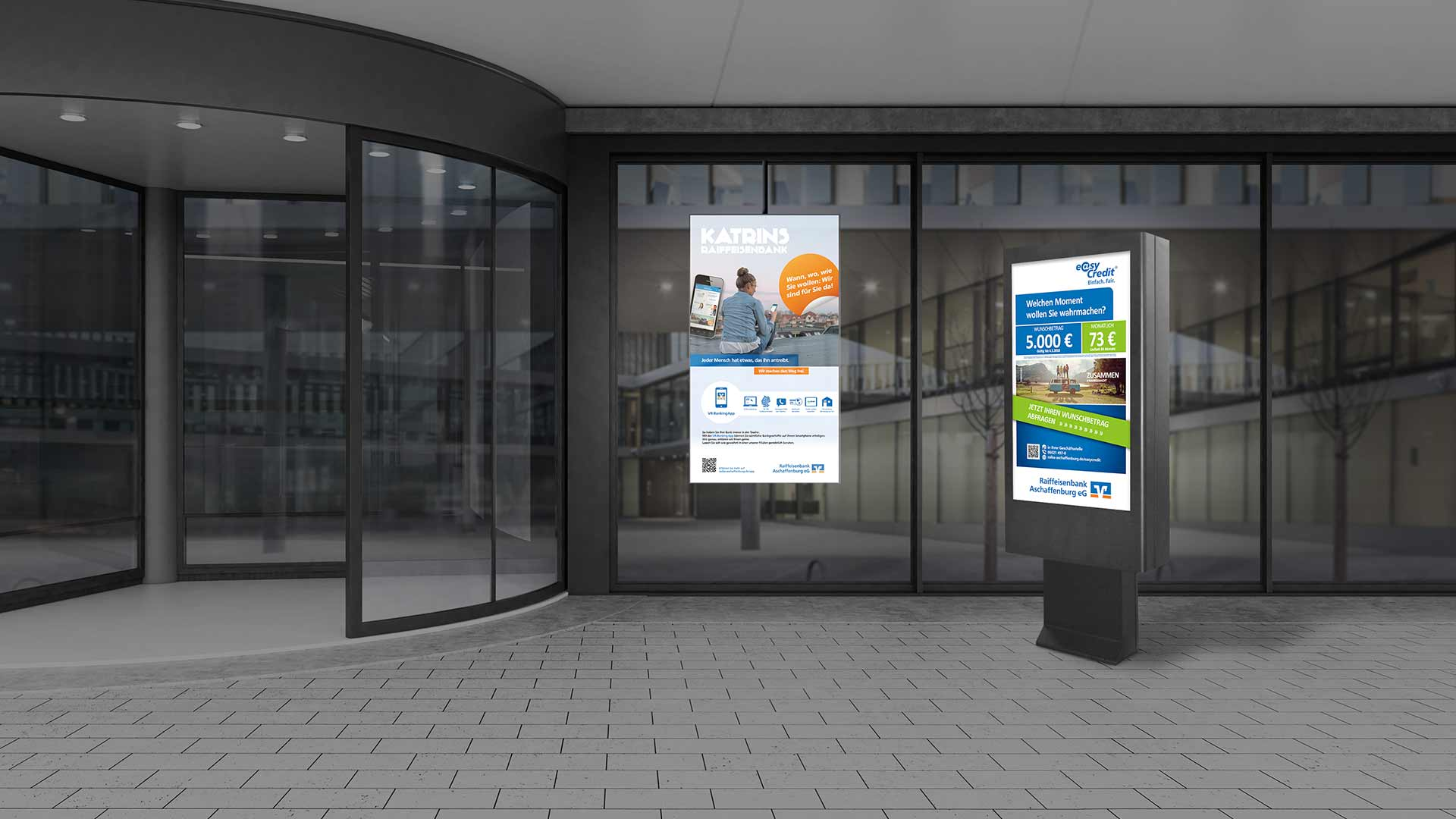 Digital Signage in einer Bankfiliale