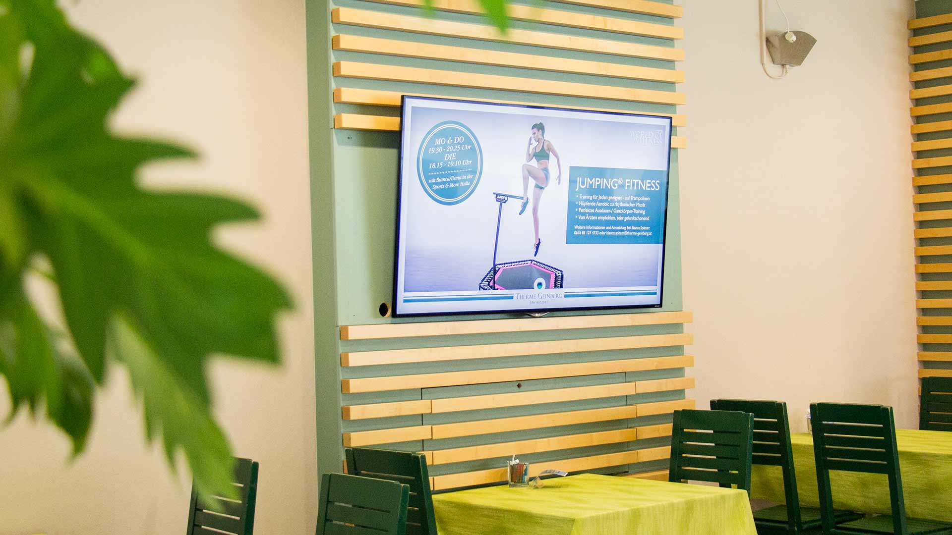 Digital Signage in einem Freizeitbad oder Therme