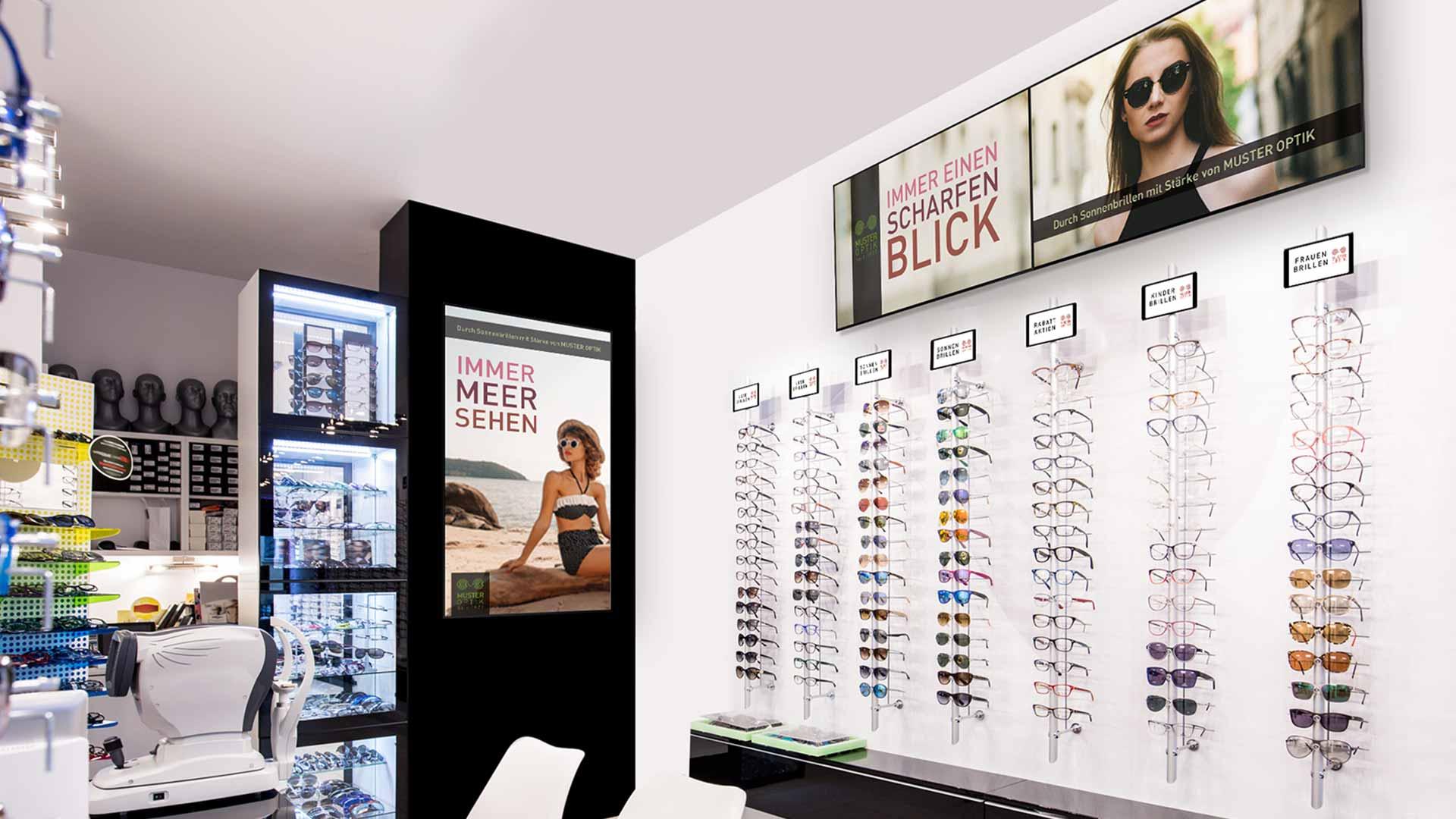 Digital Signage in einem Optikergeschäft