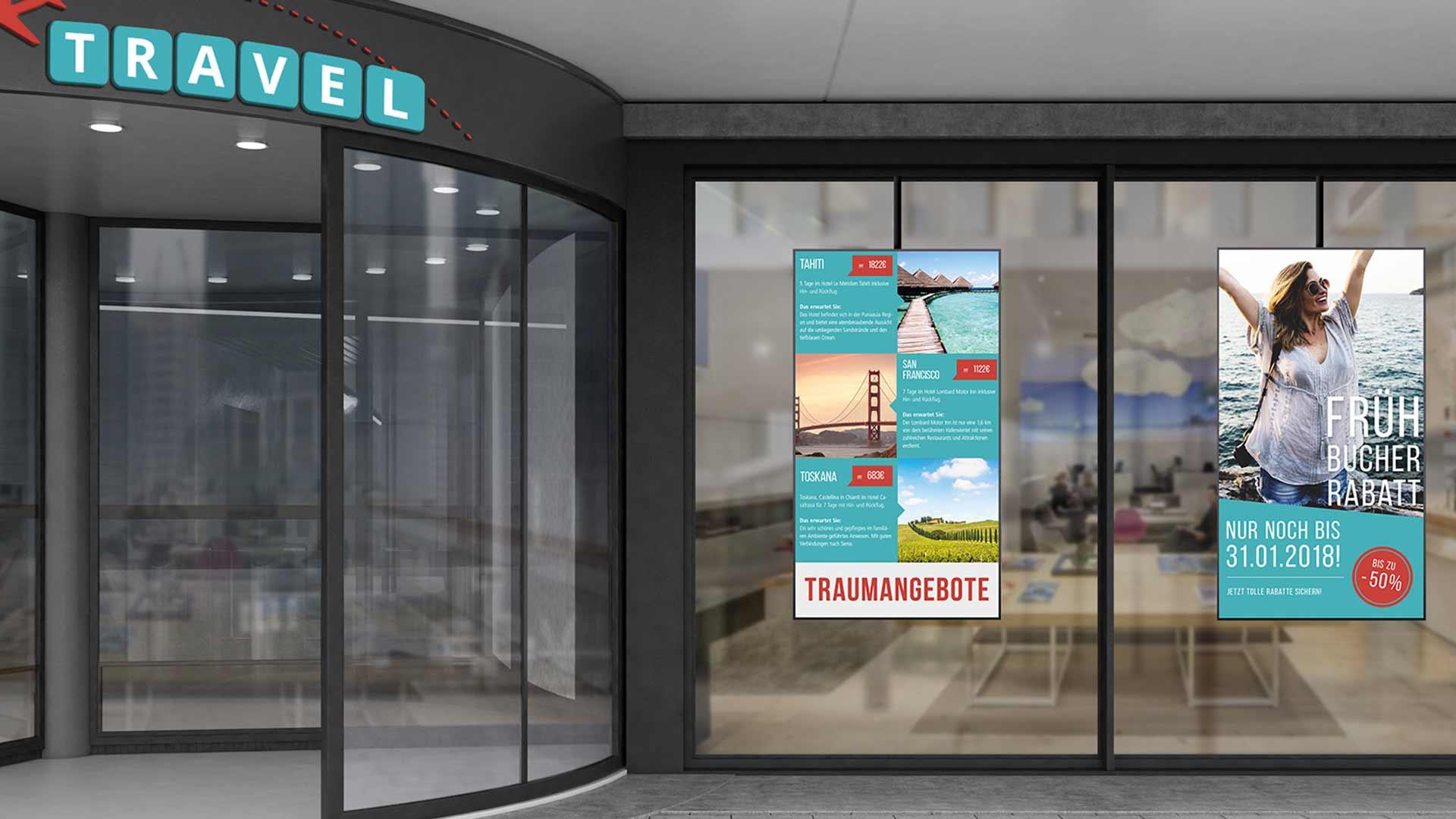 Digital Signage in einem Reisebüro