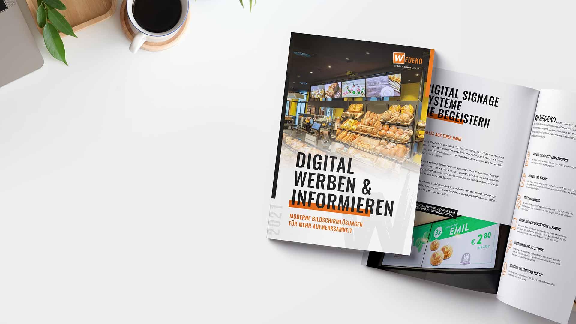 Digital Signage Broschüre von Wedeko 2021