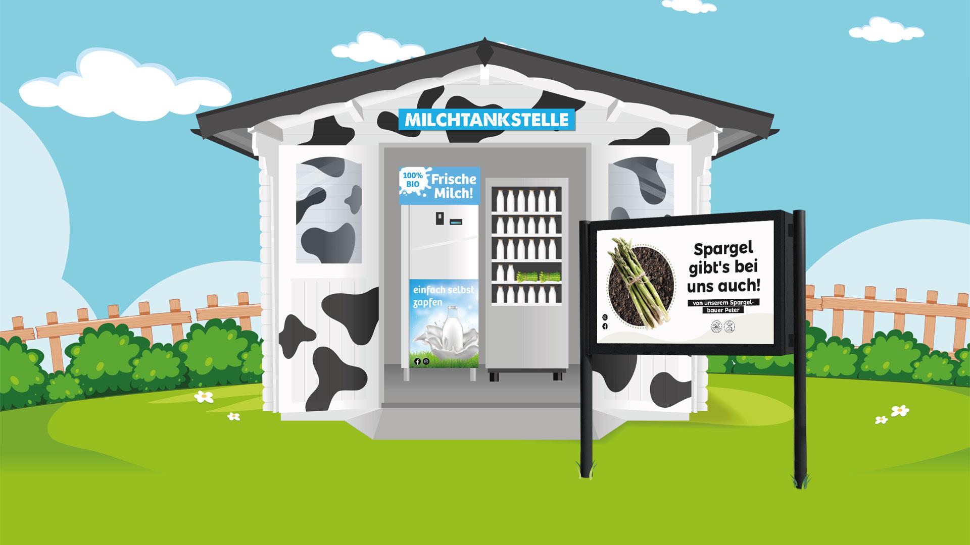 Milchtankstelle Lebensmittelautomat mit Digital Signage