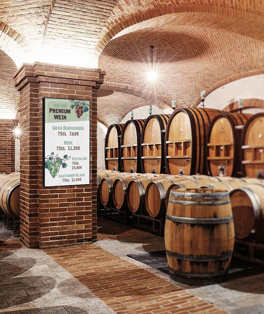 Digital Signage in einer Weinkellerei Winzerei