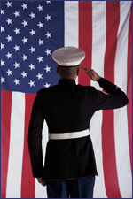 Soldier Facing American Flag and Saluting
