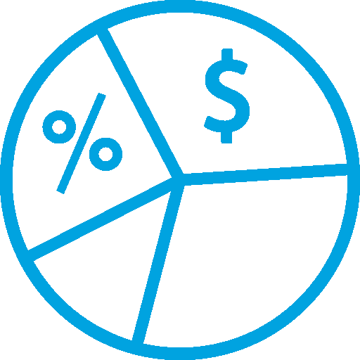 Four Quadrant Pie Chart with a Percent Symbol in One and a Dollar Sign in Another