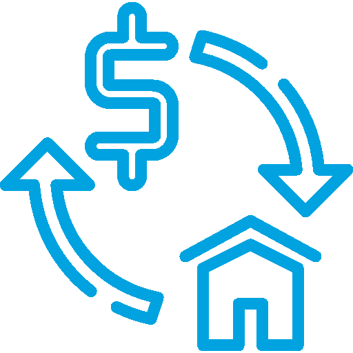 House and Dollar Sign Connected By a Circle Made Up of Two Curved Arrows