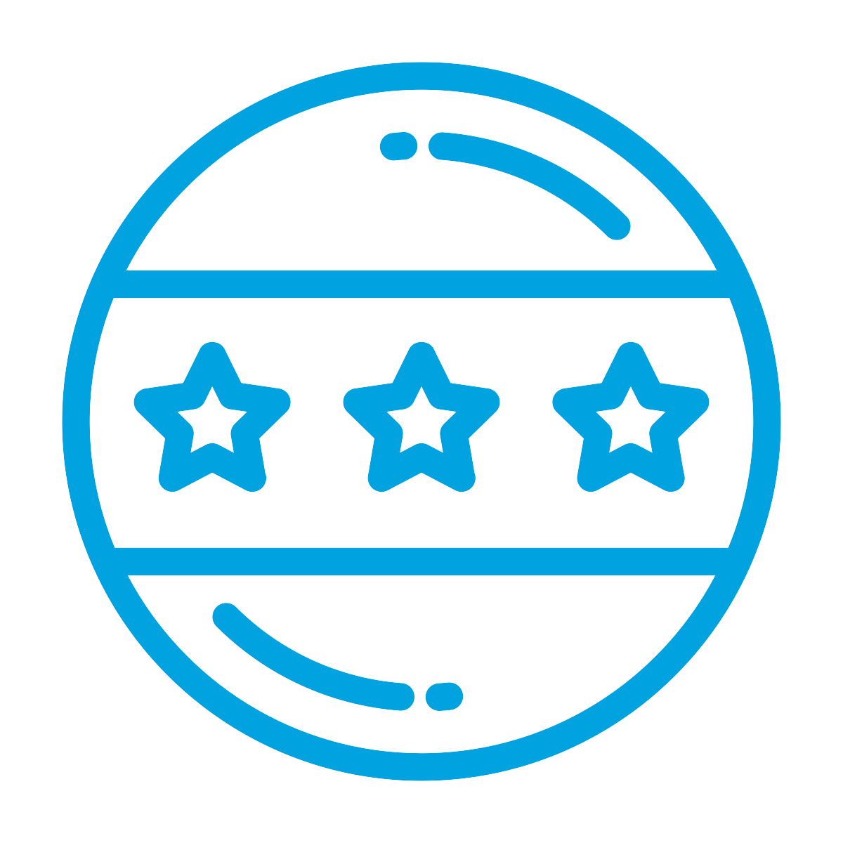 Circular Pin Back Button Decorated with Three Stars