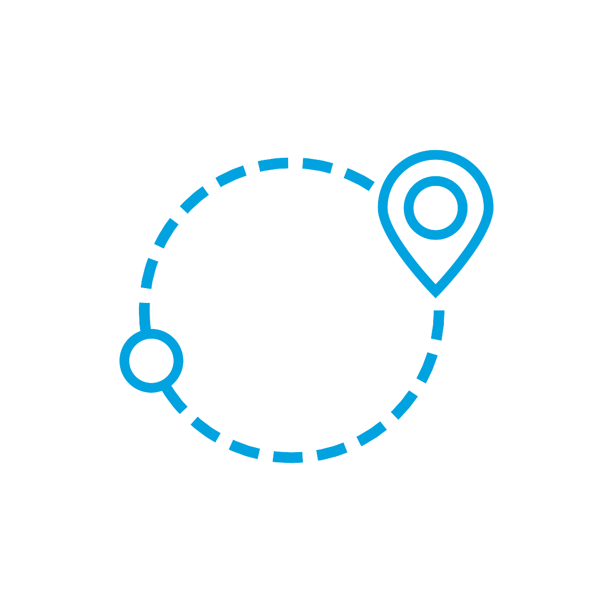 Location Symbol and Pin Connected by a Circular Dashed Line