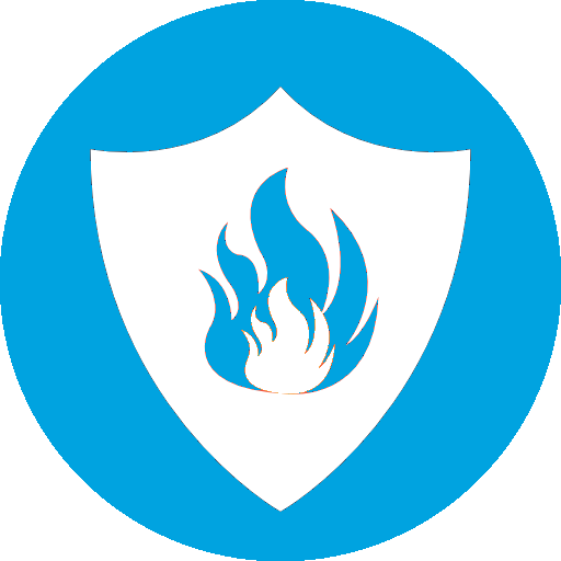 Blue Circle Behind White Shield Behind Blue Flames Behind White Flames