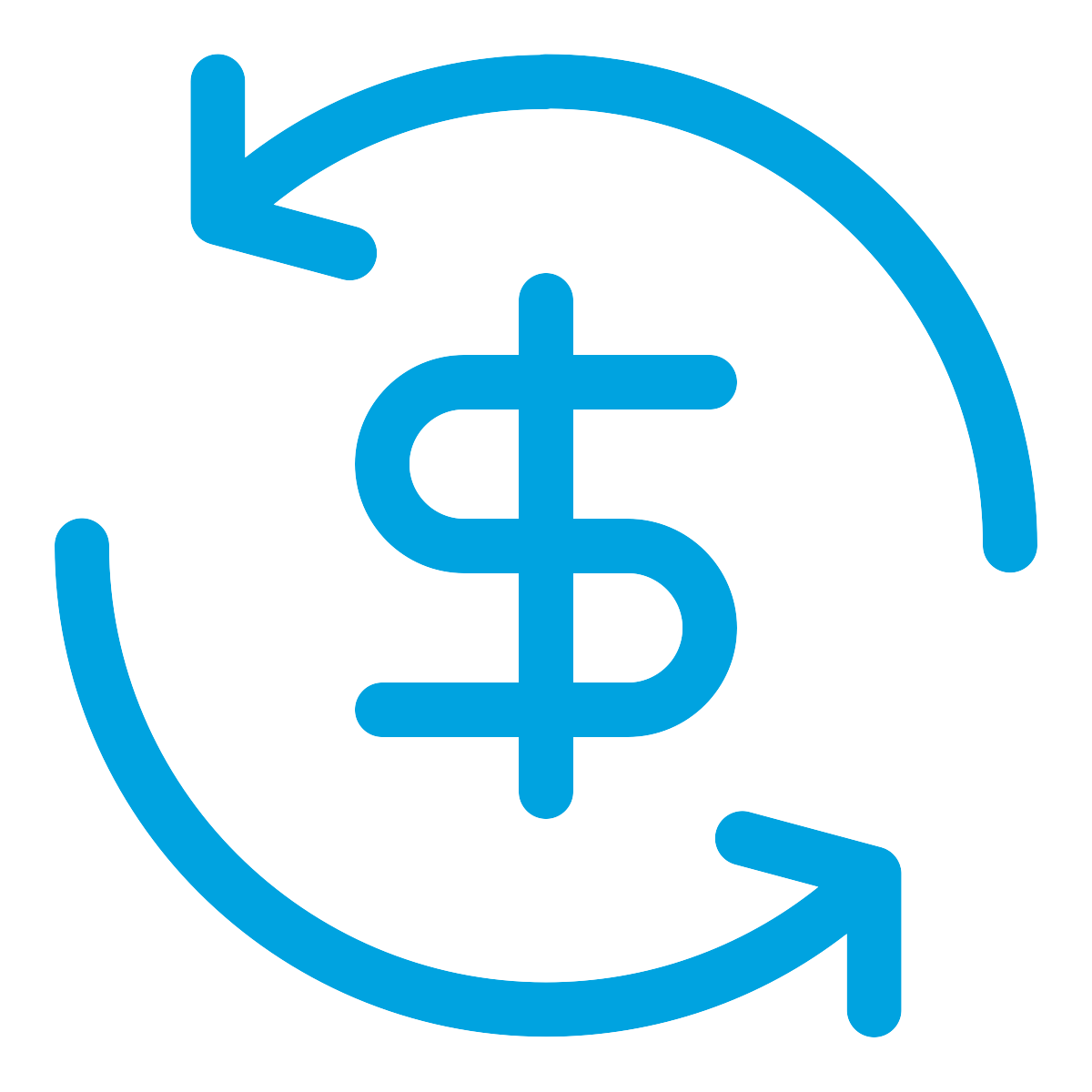 Dollar Sign Surrounded by Two Curved Arrows Forming a Circle