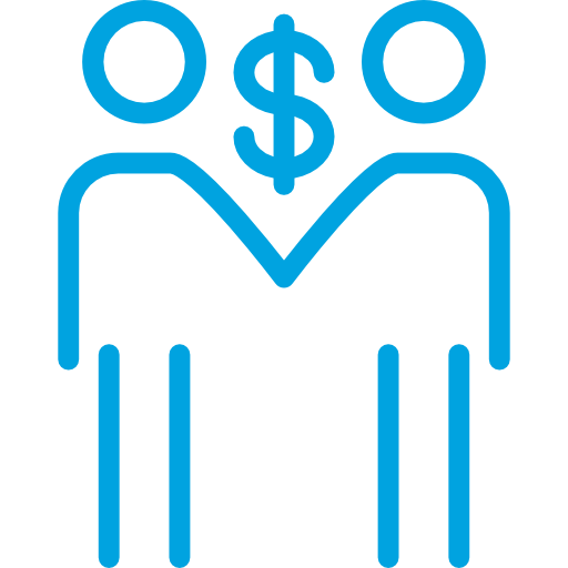 Dollar Sign Between Two People Holding Hands