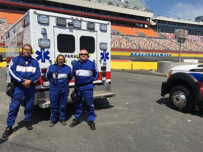 Cabarrus County EMS working race at  Charlotte Motor Speedway