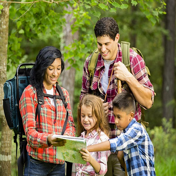 Group hiking while looking at map