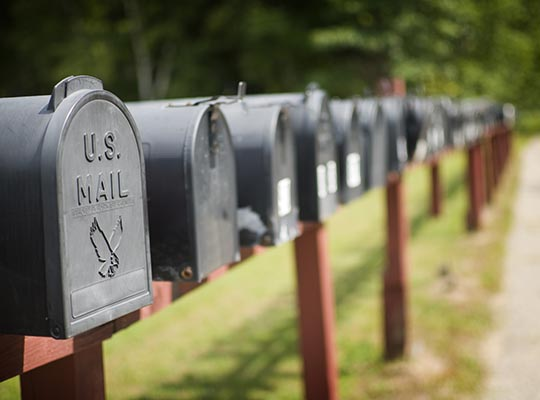 US mailboxes in a row