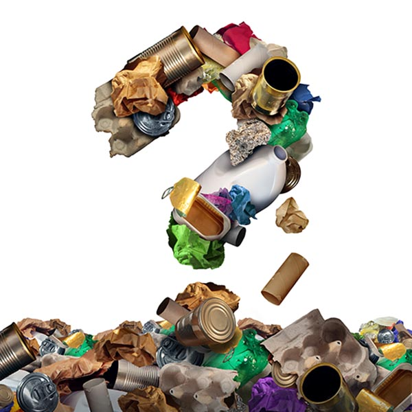 Recycling items in shape of question mark