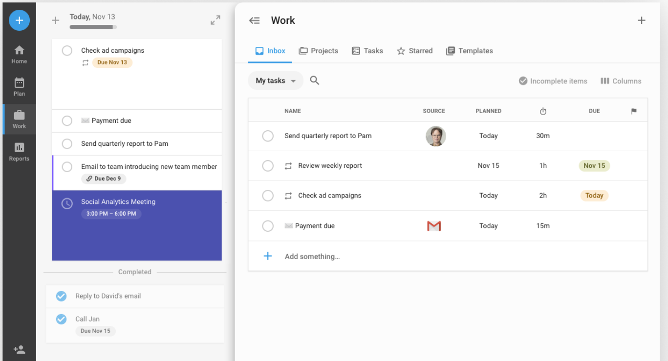 Screenshot of inbox view in TimeHero project management software.