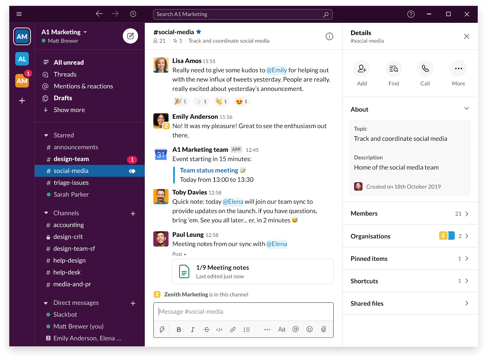 Screenshot of Slack instant messaging platform.