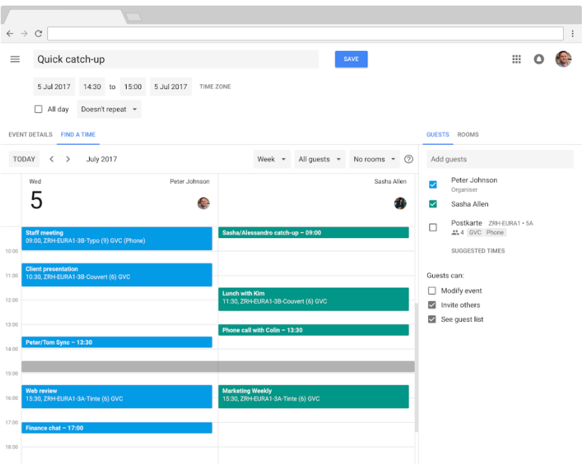 Screenshot of productivity app Google Calendar being used to schedule meetings.