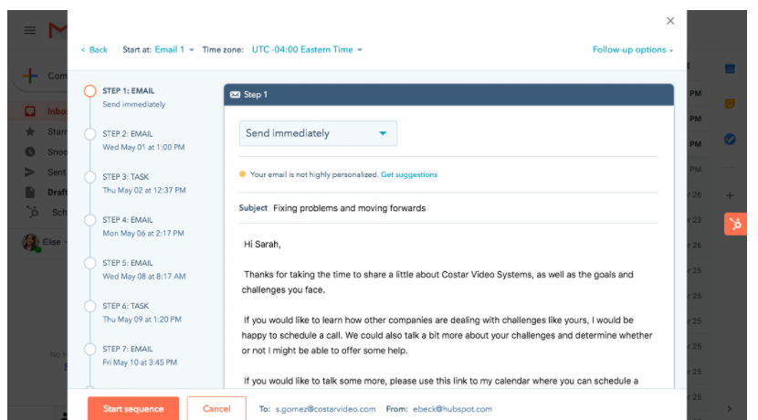 Screenshot of Hubspot sales automation tool.