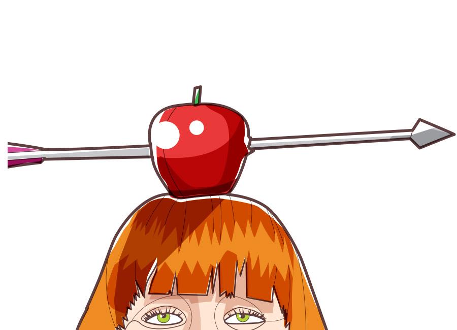 Tenha uma boa mira na hora de acertar o público-alvo. Na imagem, uma mulher tem uma mação no topo da cabeça, com uma flecha atravessando a maçã.