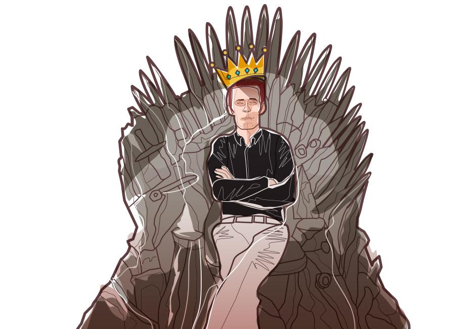 """O cliente deve ser """"o rei"""" do seu negócio. Na imagem, um homem senta em um trono em referência a Game of Thrones. Ele usa uma coroa."""