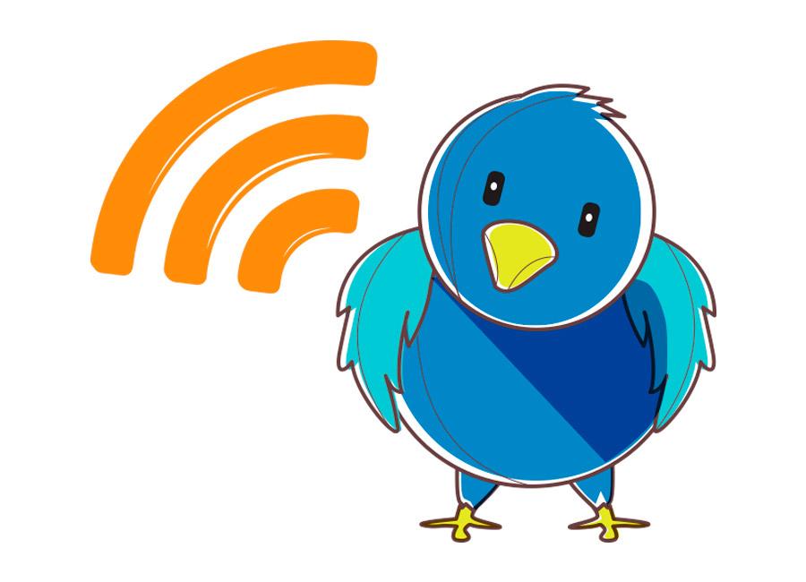Marque presença nas redes sociais para aumentar o engajamento com a sua audiência. Na imagem, um passarinho que representa o Twitter e um ícone laranja, que representa a assinatura de RSS Feed.