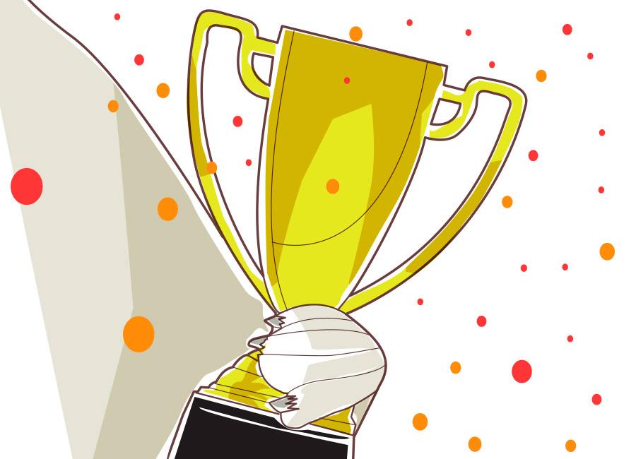 Ao delegar tarefas, o sucesso é coletivo. Na imagem, o mascote da nossa empresa segura um troféu.