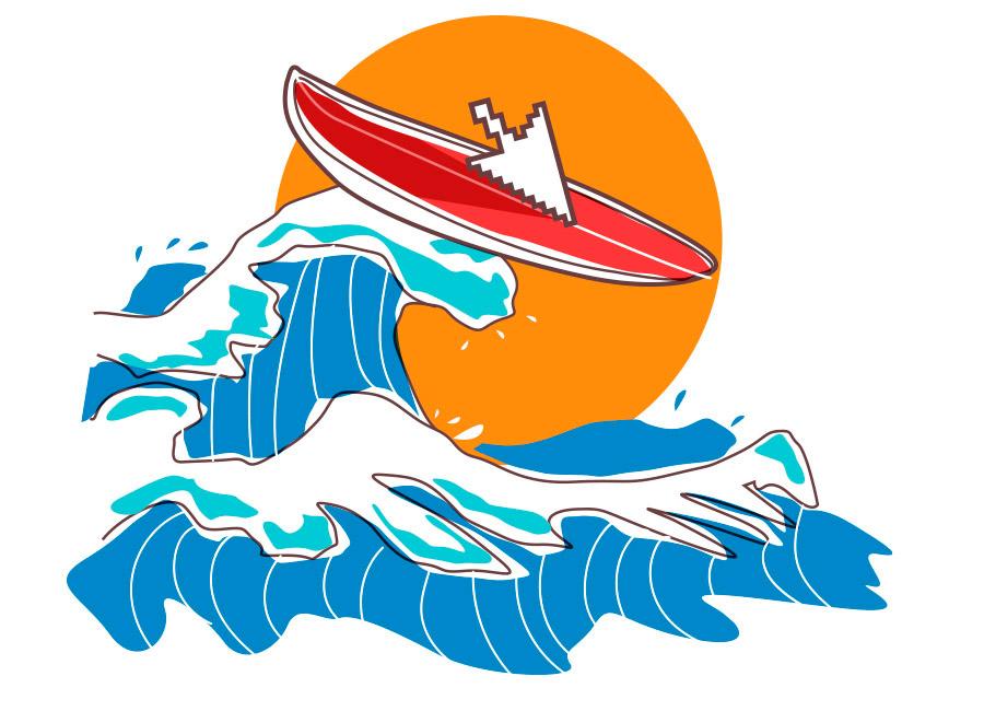 """Surfar ou ser levado na onda digital: a escolha é sua. Na imagem, Um """"cursor"""" de computador está em cima de uma prancha, surfando a onda."""
