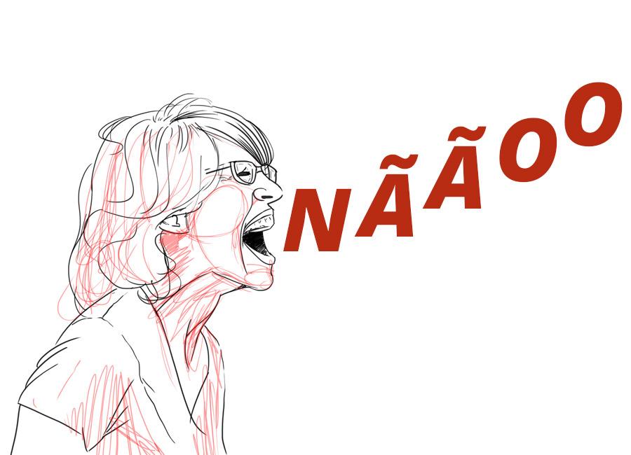 """Não tenha vergonha de perguntar. Na imagem, uma mulher com expressão de grito e da sua boca saem as letras formando a palavra """"não""""."""