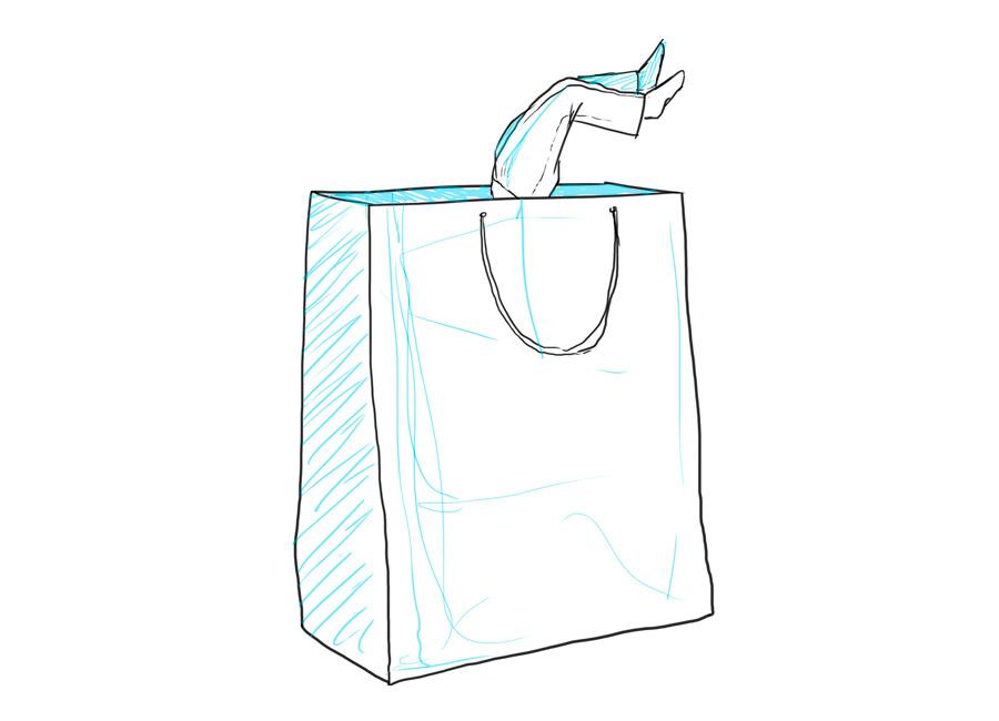 O seu cliente precisa conhecer a fundo a sua oferta. Ma imagem, uma pessoa está de ponta-cabeça dentro de uma sacola de compras.
