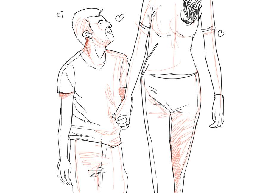 Um homem baixinho namora com uma mulher mais alta.