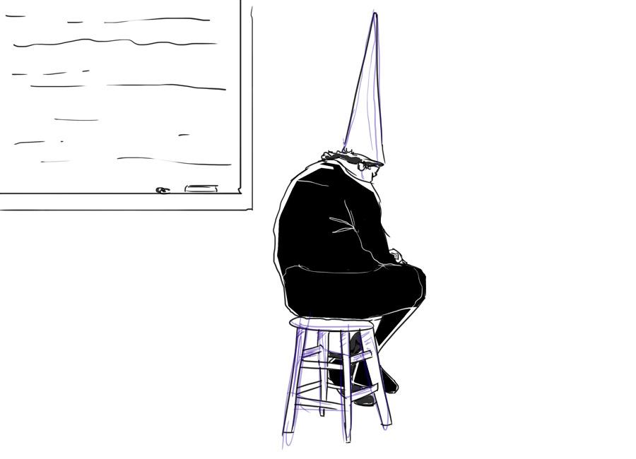 """A sua oferta é bem construída quando o cliente tem a sensação de que será """"burro"""" se deixar passar essa oportunidade. Na imagem, uma pessoa está sentada no canto de uma sala de aula, com o icônico """"cone da vergonha""""."""