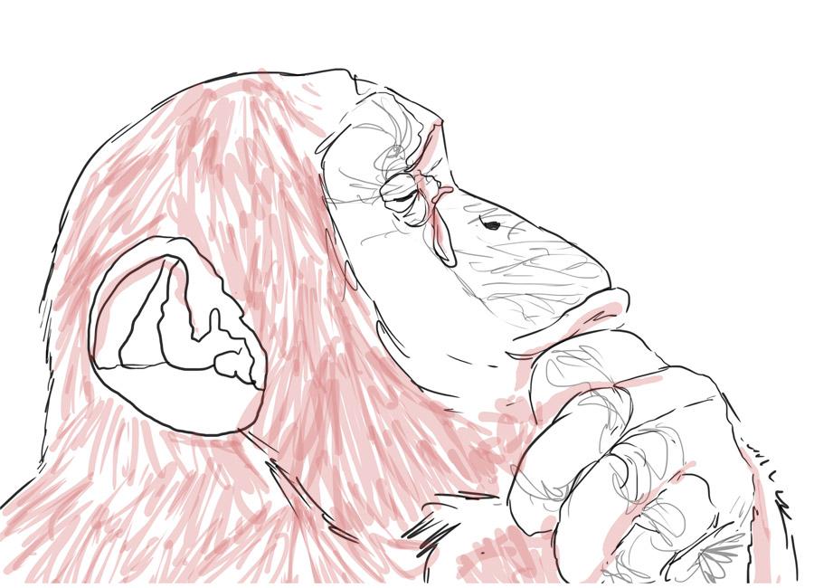 macaco triste representa a frustração de não saber lidar com as objeções dos clientes.