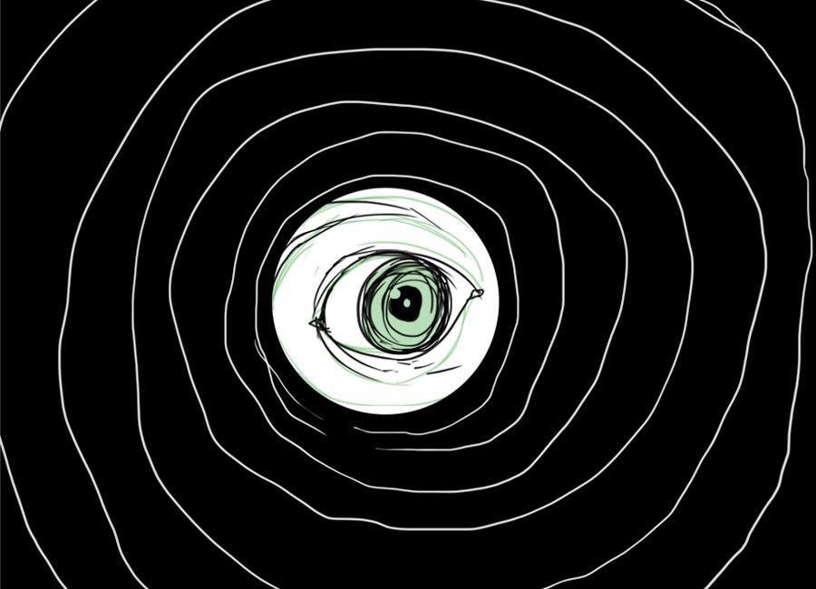 """""""Tô dando uma olhadinha""""... Que vendedor nunca passou por esse tipo de situação? Na imagem, um olho está observando como se fosse através de um túnel."""
