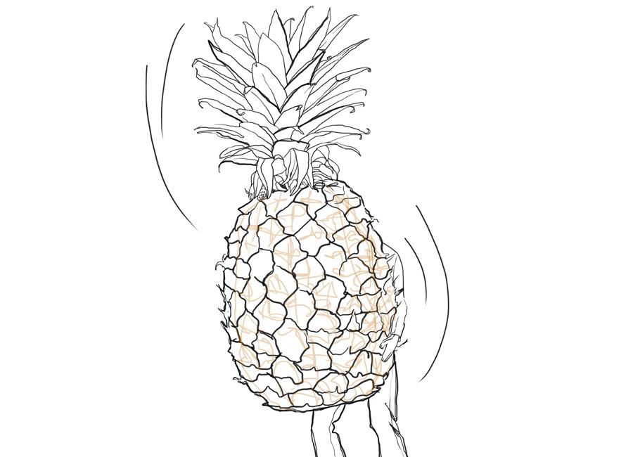 homem segurando um abacaxi muito maior do que ele. Representa, dentro do artigo da Academia 360, o custo da oportunidade.