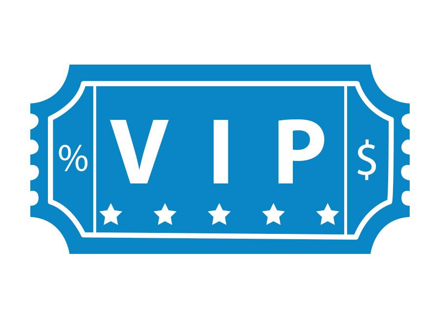 """Use cupons exclusivos para fãs. Na imagem, cupom azul estilo ingresso escrito """"VIP"""""""