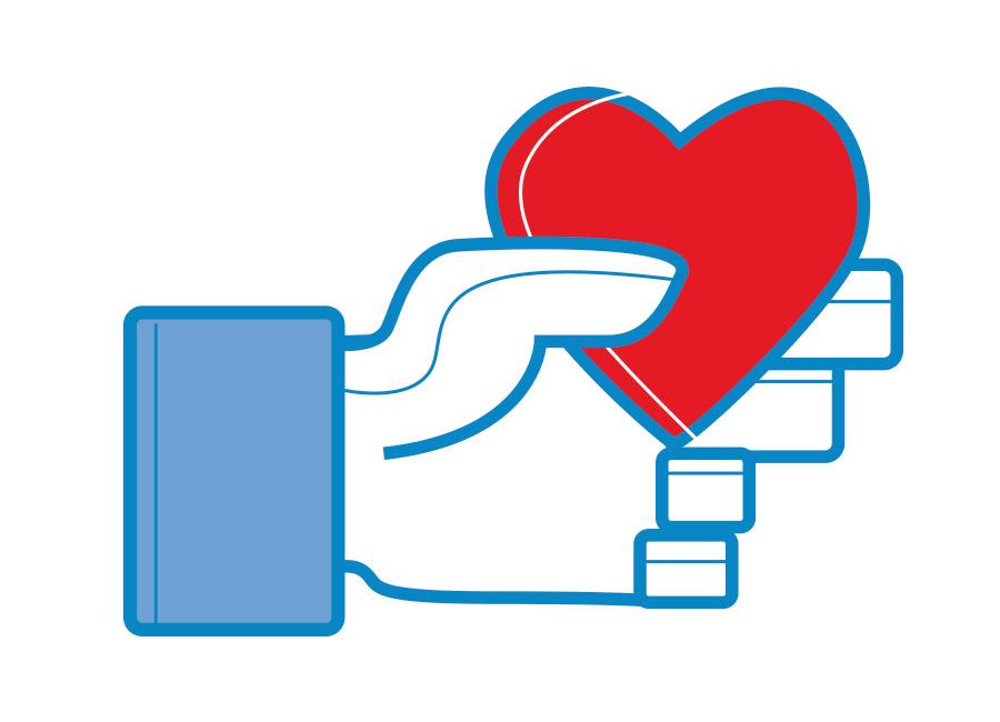 Mão like facebook segurando um coração. Crie um relacionamento com o seu público.