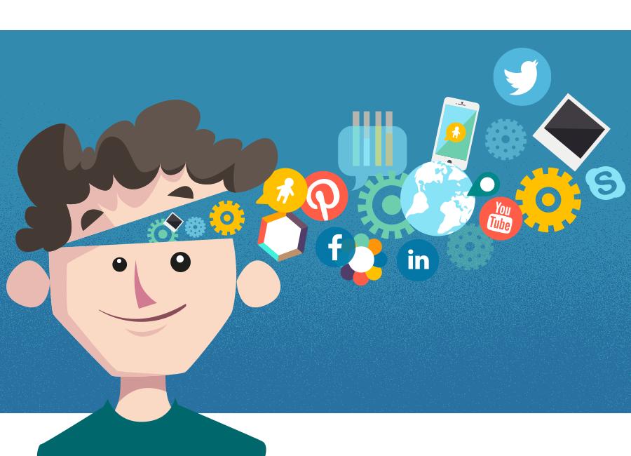 Rapaz com a cabeça cheia de ideias. Dela saem vários ícones de redes sociais, empreendedorismo digital