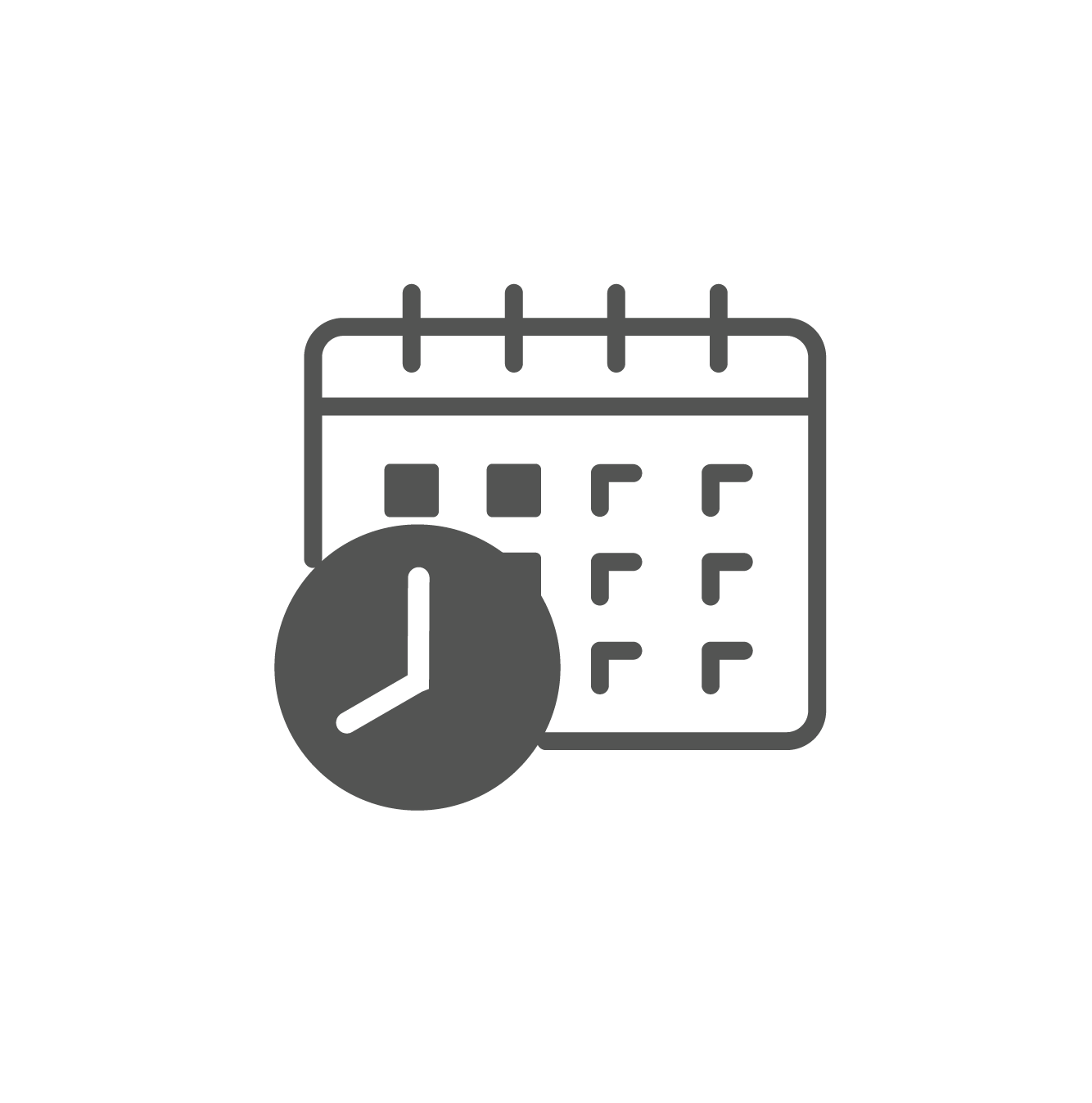 Calendar icon with clock to represent the Prometheus Planning & Scheduling module.