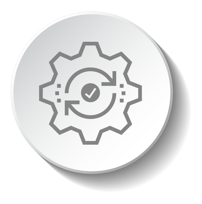 gear icon with sync arrows and check mark