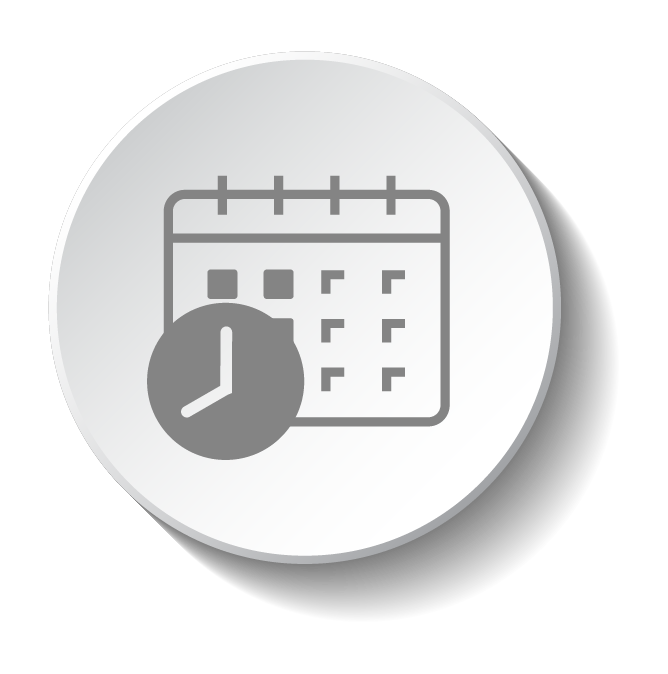 calendar with clock to represent scheduling icon