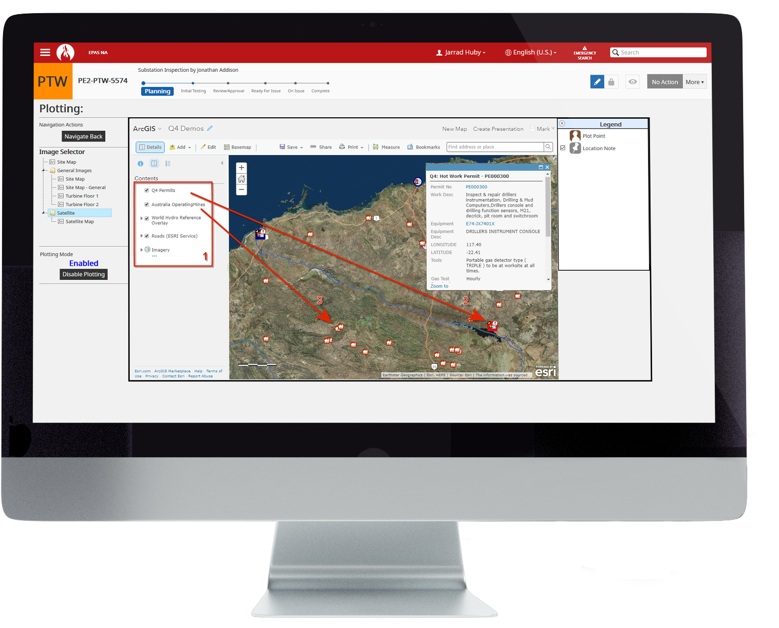ARC GIS integration with a map feature screenshot on a monitor