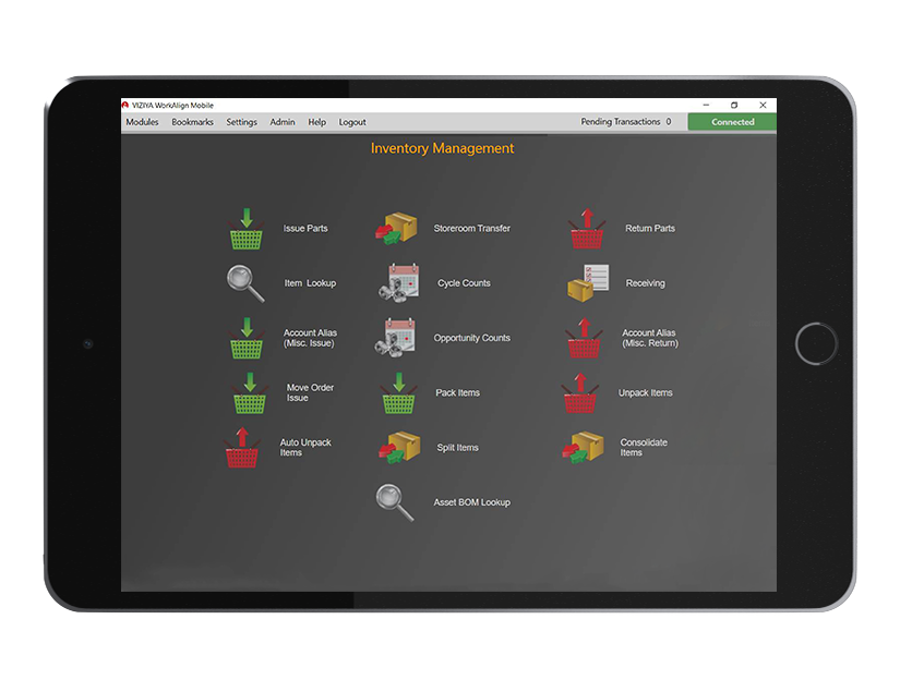 Inventory management screenshot