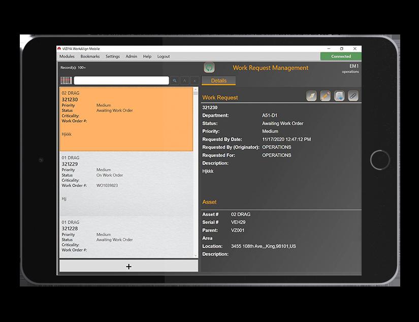 WorkAlign Mobile work order management view
