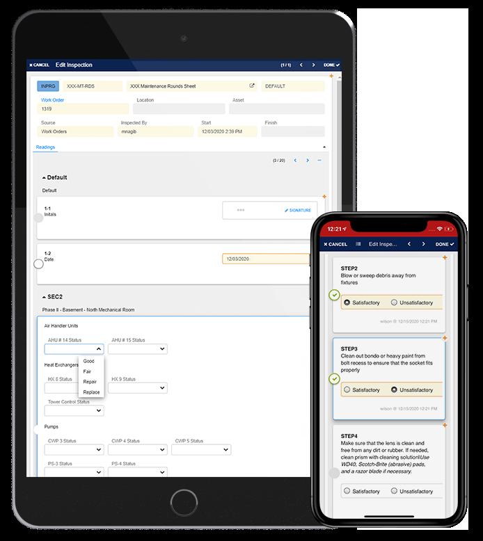 Mobile work order editing screen views