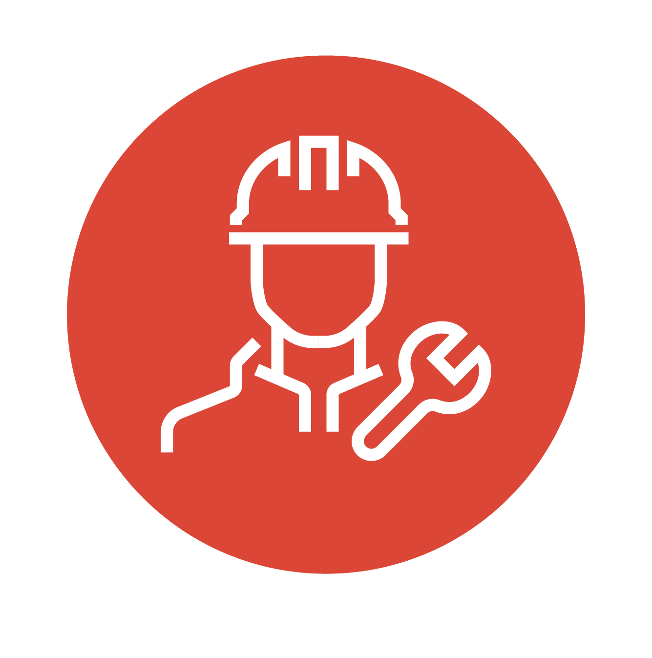 contractor symbol in hard hat with wrench